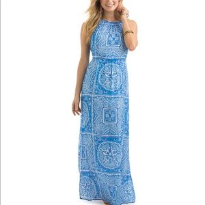 Vineyard Vines Blue Sand Dollar Scarf Maxi Dress